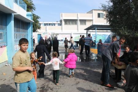 UNRWA school premises, a place of refuge for 1,800 people. Gaza City 21Nov12